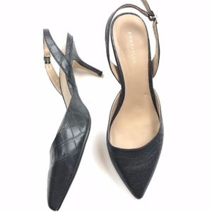 Ann Taylor Factory Snakeskin Slingback Heels